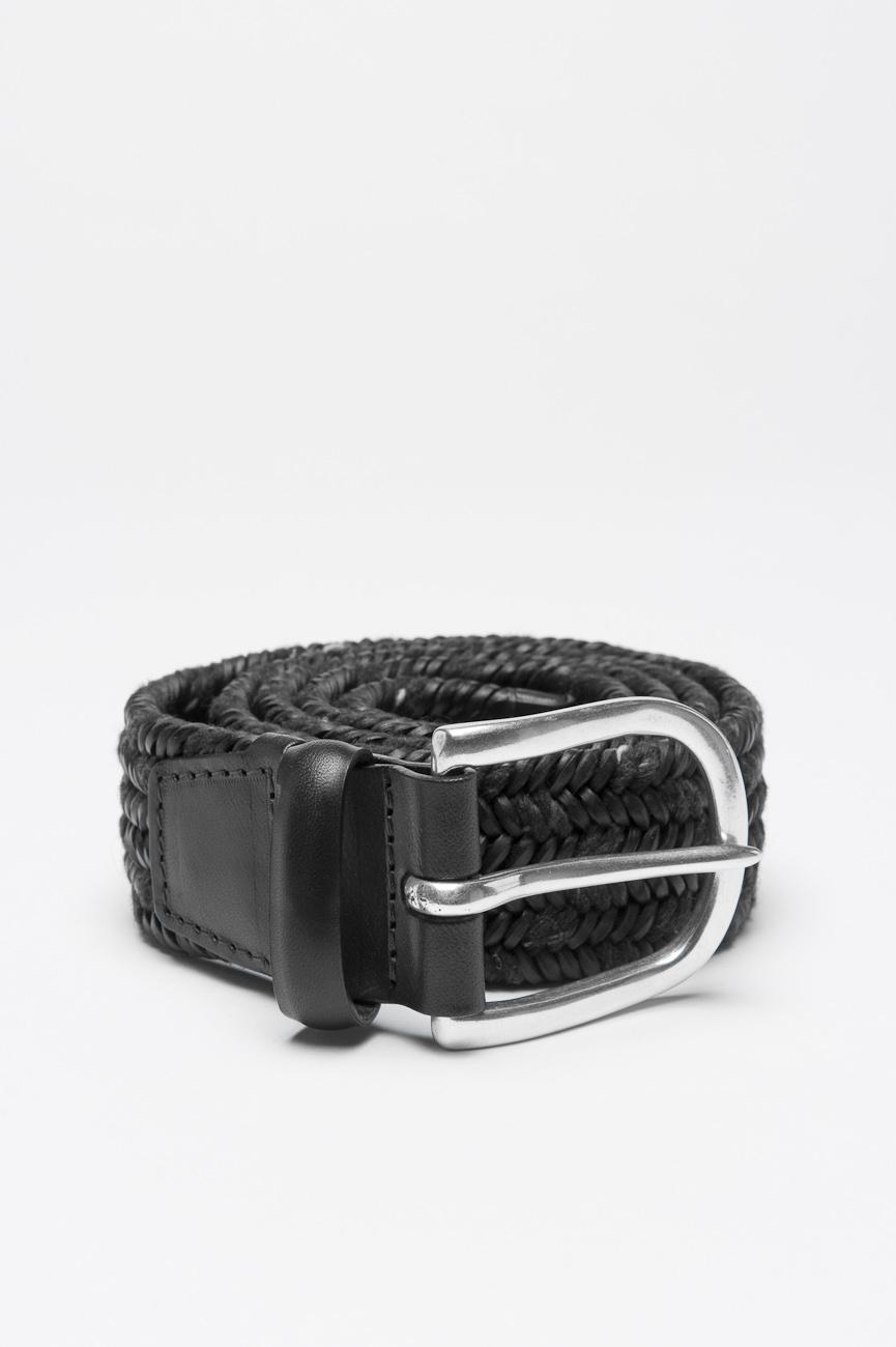 SBU 00997 Belt in black calfskin braided leather adjustable buckle closure 1.4 inches 01