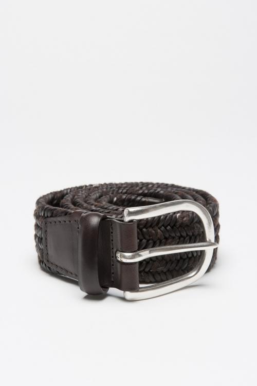 Cintura in pelle di vitello elasticizzata intrecciata marrone 3.5 cm