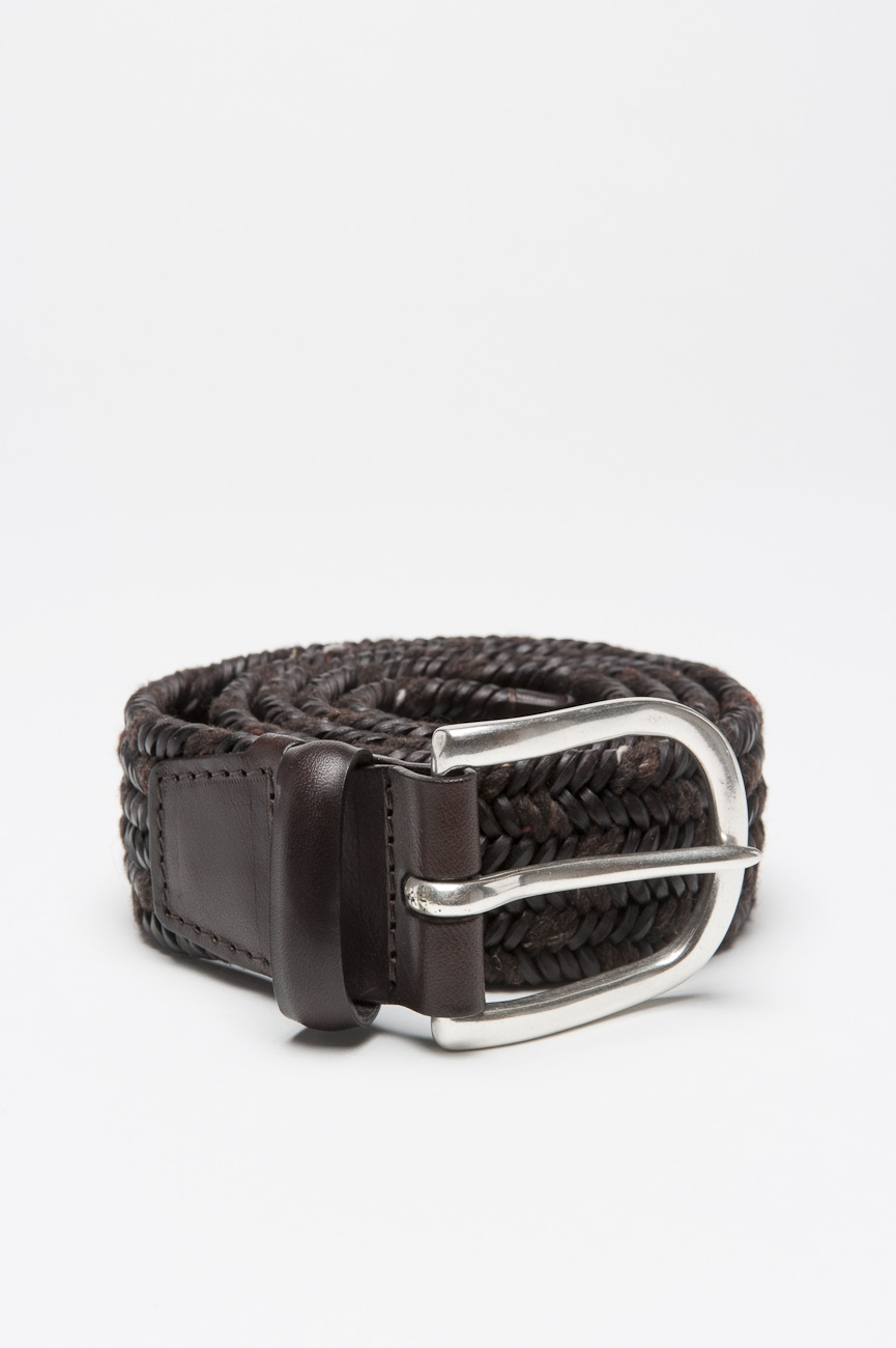 SBU 01003 Belt in brown calfskin braided leather adjustable buckle closure 1.4 inches 01