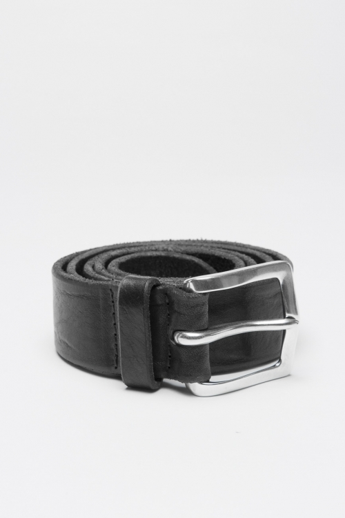 Adjustable buckle closure black washed leather 1.4 inches belt