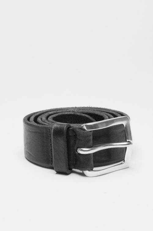 Cintura in pelle di vitello lavata nera con fibbia di metallo 3.5 cm