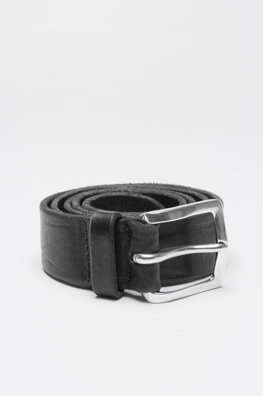 SBU 00998 Cintura in pelle di vitello lavata nera con fibbia di metallo 3.5 cm 01
