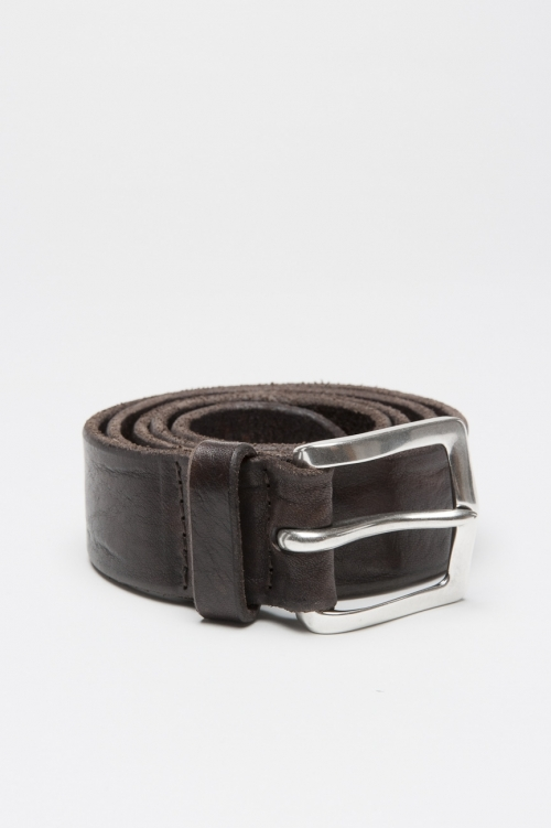 Adjustable buckle closure brown washed leather 1.4 inches belt