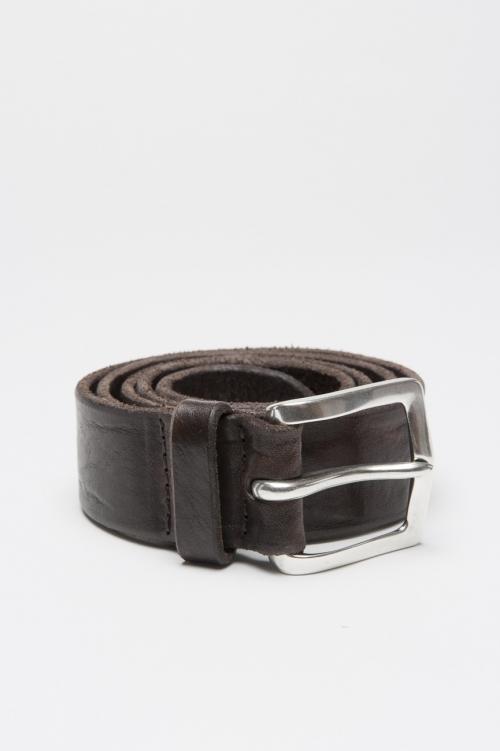 Cinturón cierre de hebilla ajustable en cuero lavado marrón 3.5 cm