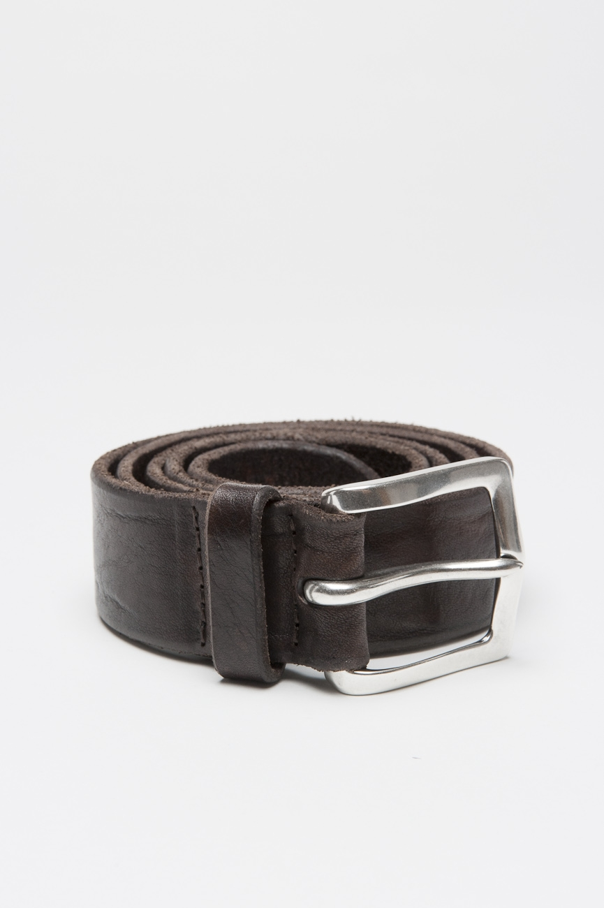 SBU 01004 Adjustable buckle closure brown washed leather 1.4 inches belt 01