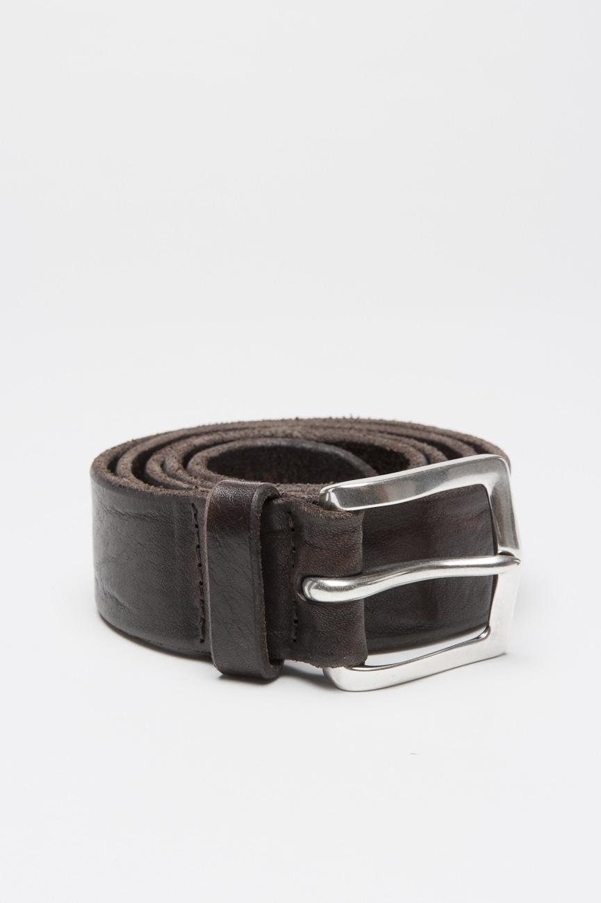 SBU 01004 Cintura in pelle di vitello lavata marrone con fibbia di metallo 3.5 cm 01