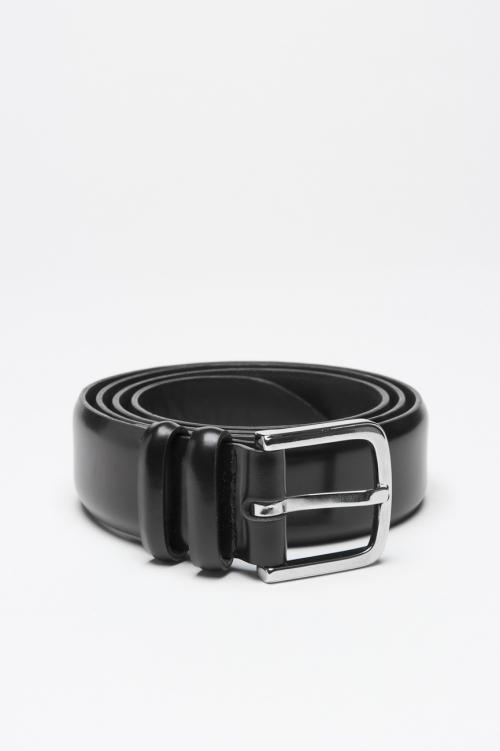 Clásico cinturòn Orciani for sbu en cuero negro 3 cm