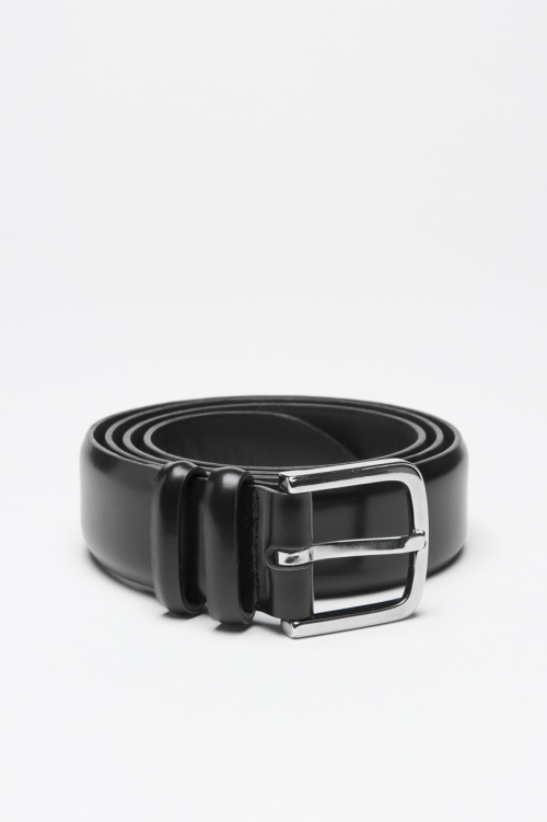 Classic Orciani for sbu black leather 1.2 inches belt