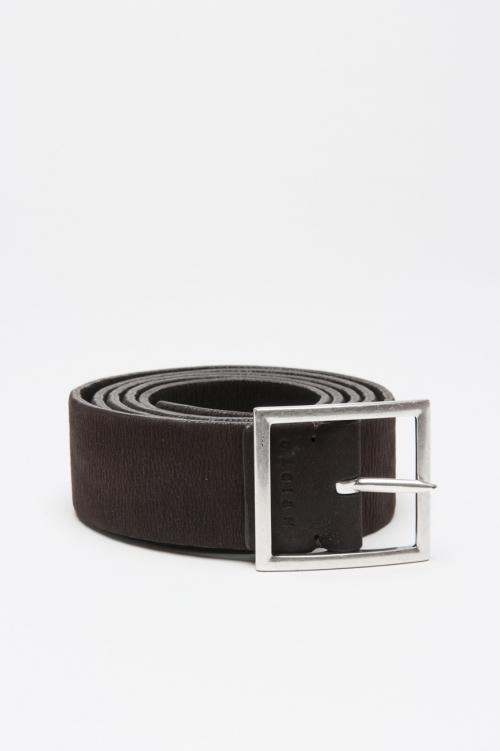 Cintura in pelle elasticizzata double face marrone e nera 3 cm
