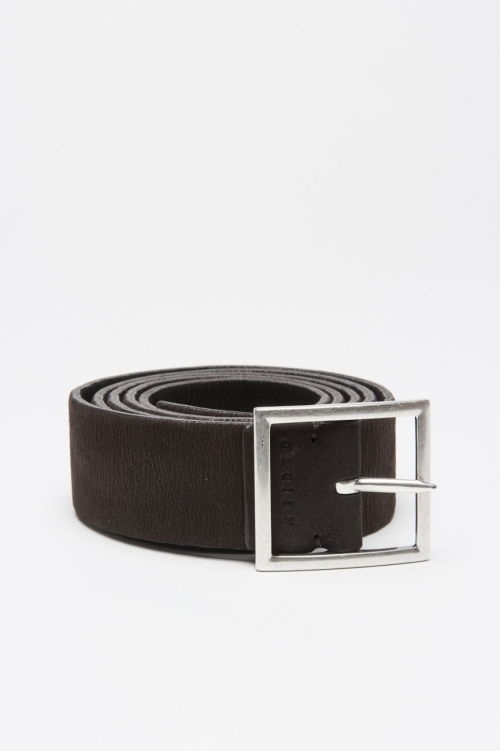 Double face brown and black stretch leather 1.2 inches belt
