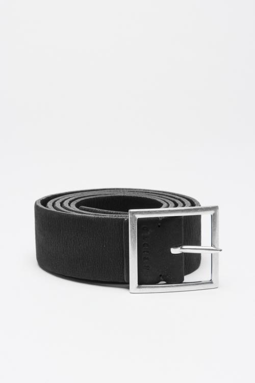 Cintura in pelle elasticizzata double face nera e marrone 3 cm