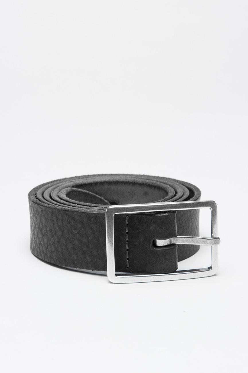 SBU 01001 Cintura in pelle di vitello martellata nera con fibbia di metallo 3 cm 01