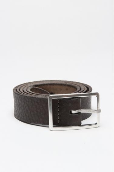 SBU 01007 Cintura in pelle di vitello martellata marrone con fibbia di metallo 3 cm 01