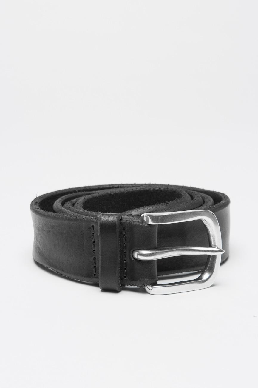 SBU 01002 Cintura in pelle di toro lavata nera con fibbia di metallo 01