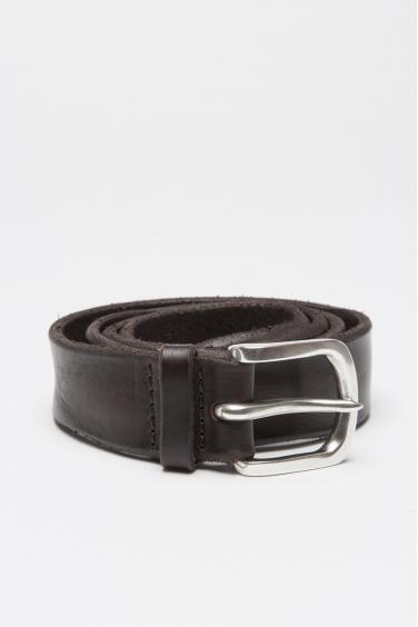 SBU 01008 Cintura in pelle di toro lavata marrone con fibbia di metallo 01