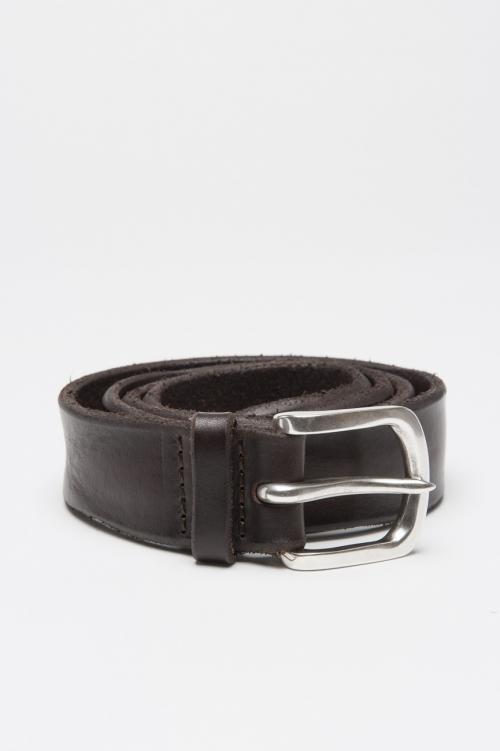 SBU 01008 Adjustable buckle closure brown washed bullhide leather 1.2 inches belt 01