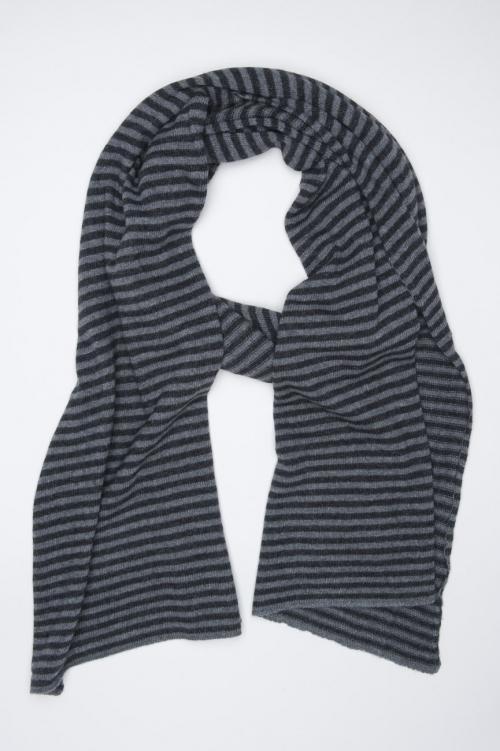 SBU 01018 Classic striped winter scarf in cashmere blend black and grey 01