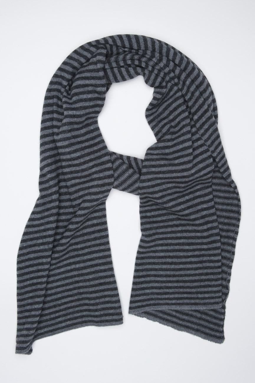 SBU 01018 Bufanda clásica de invierno con rayas en mezcla de cachemira negra y gris 01