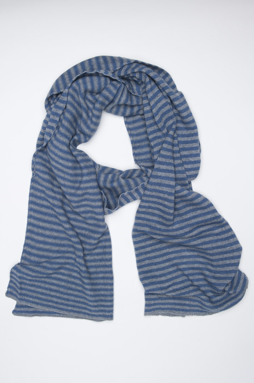 SBU 01019 Bufanda clásica de invierno con rayas en mezcla de cachemira azul claro y gris 01