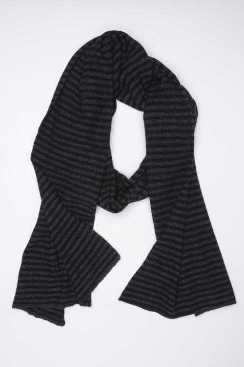 SBU 01020 Classic striped winter scarf in cashmere blend black and dark grey 01