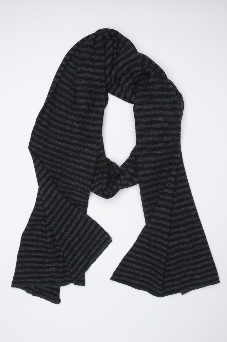 SBU 01020 Bufanda clásica de invierno con rayas en mezcla de cachemira negra y gris oscuro 01