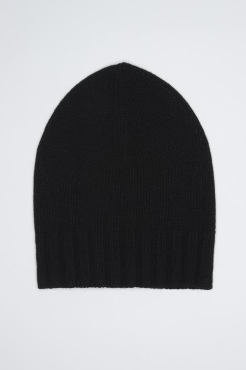 SBU 01024 Classic ribbed beanie hat in black cashmere blend 01