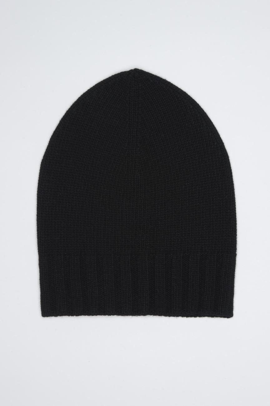 SBU 01024 Bonnet classique côtelé en cachemire noir 01