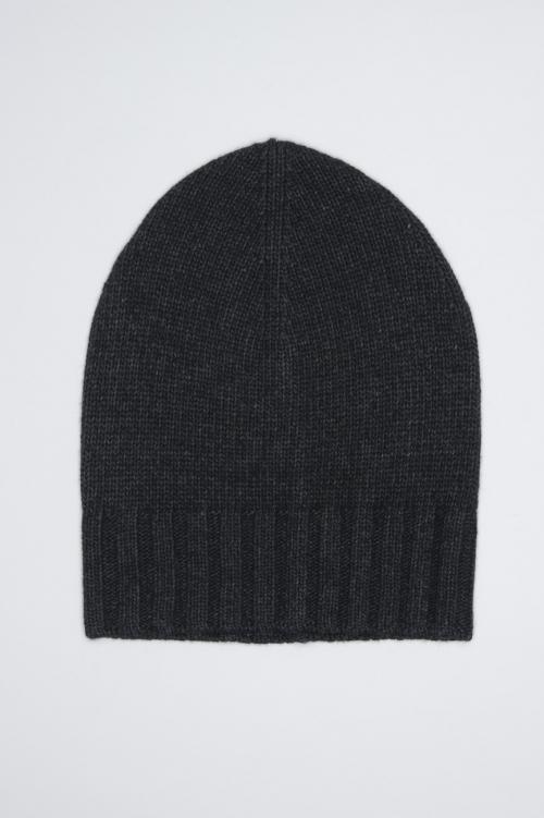 SBU 01025 Classic ribbed beanie hat in grey cashmere blend 01