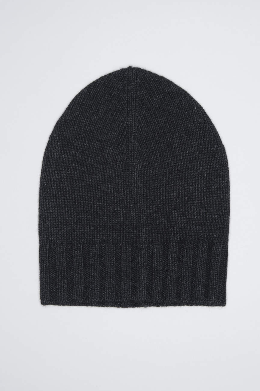 SBU 01025 灰色のカシミアブレンドの古典的なリブ付きビーニー帽子 01