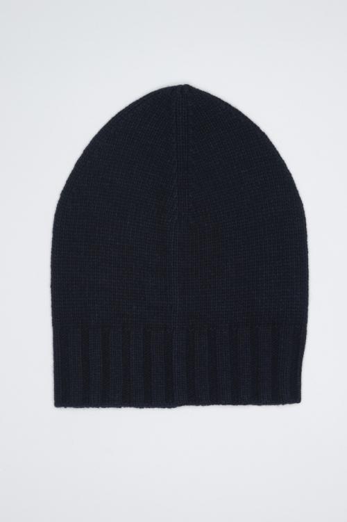 SBU 01026 Classic ribbed beanie hat in blue cashmere blend 01