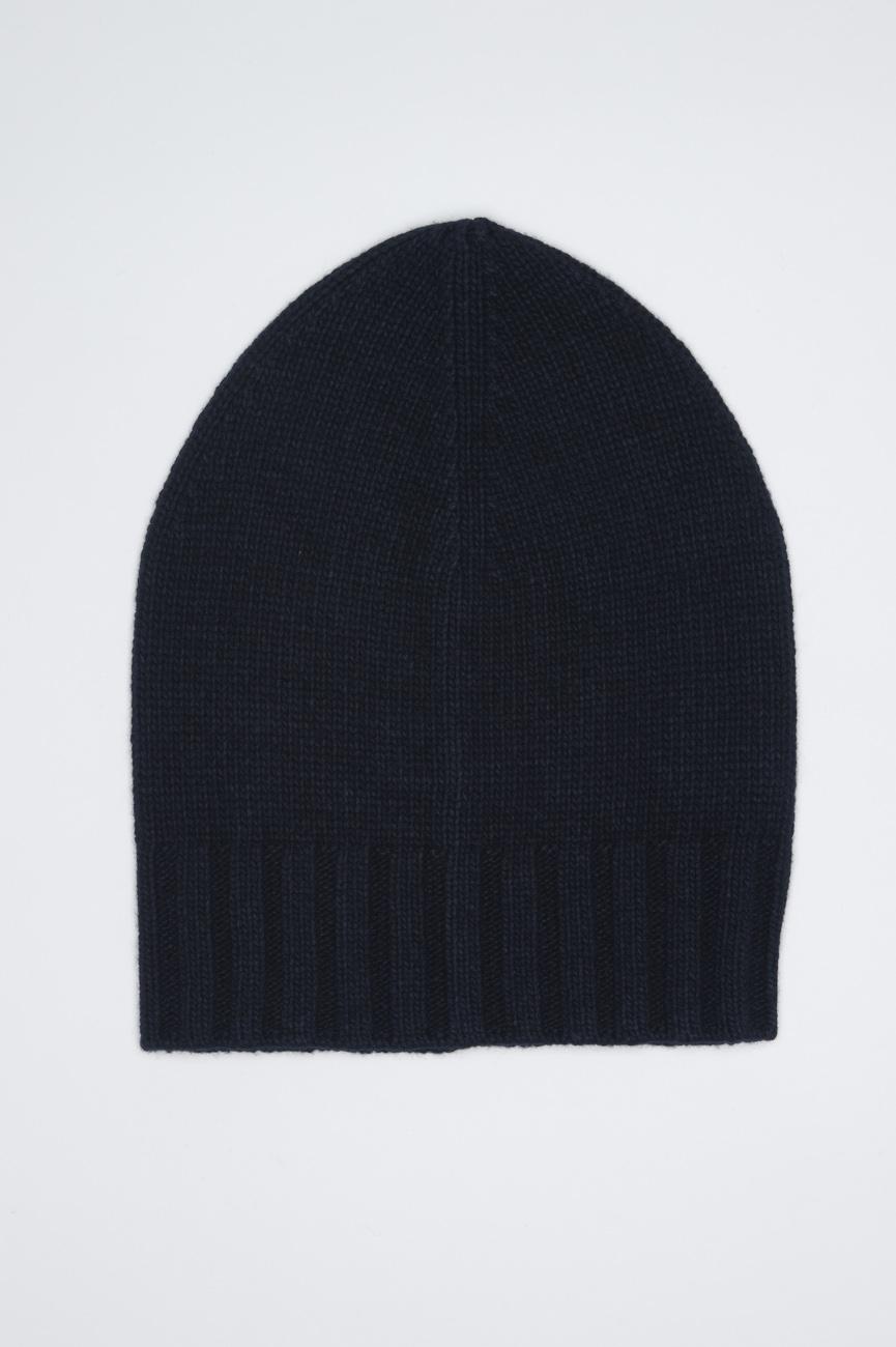 SBU 01026 古典的なリブのビーニー帽子青のカシミアブレンド 01