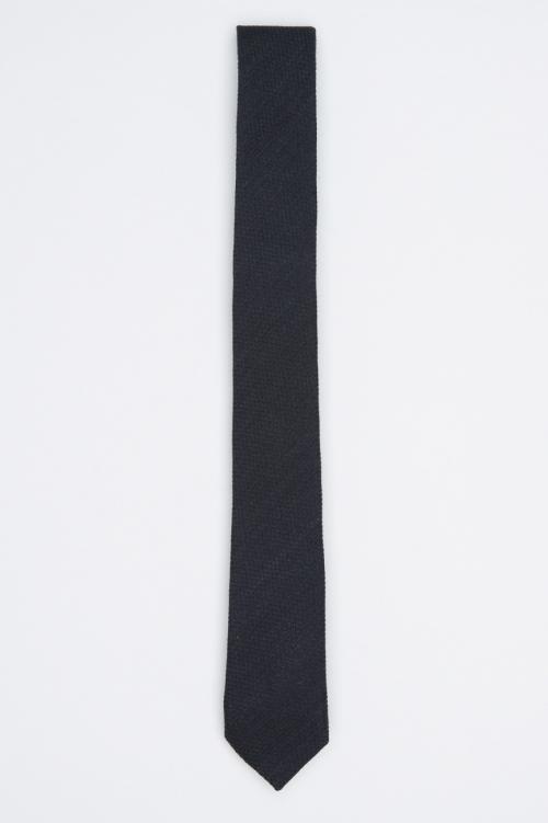 SBU 01027 Classic skinny pointed tie in black wool and silk 01