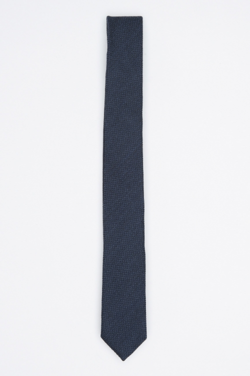 SBU 01029 Classic skinny pointed tie in blue wool and silk 01