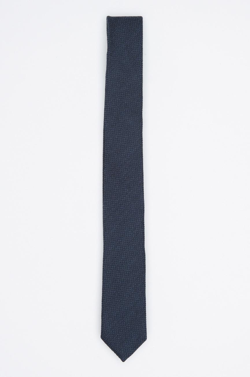 SBU 01029 Clásica corbata fina y puntiaguda en lana azul y seda 01
