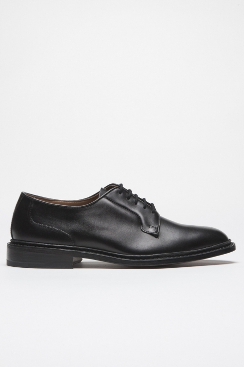 SBU 01035 Tricker's for sbu plain derby shoe with leather sole black 01