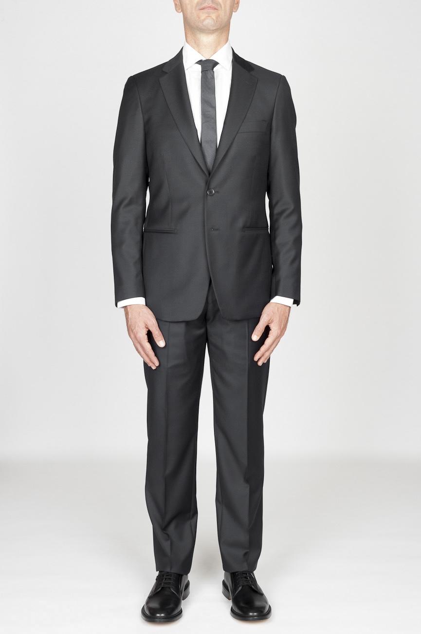 SBU 01036 Abito grigio in fresco lana completo giacca e pantalone 01