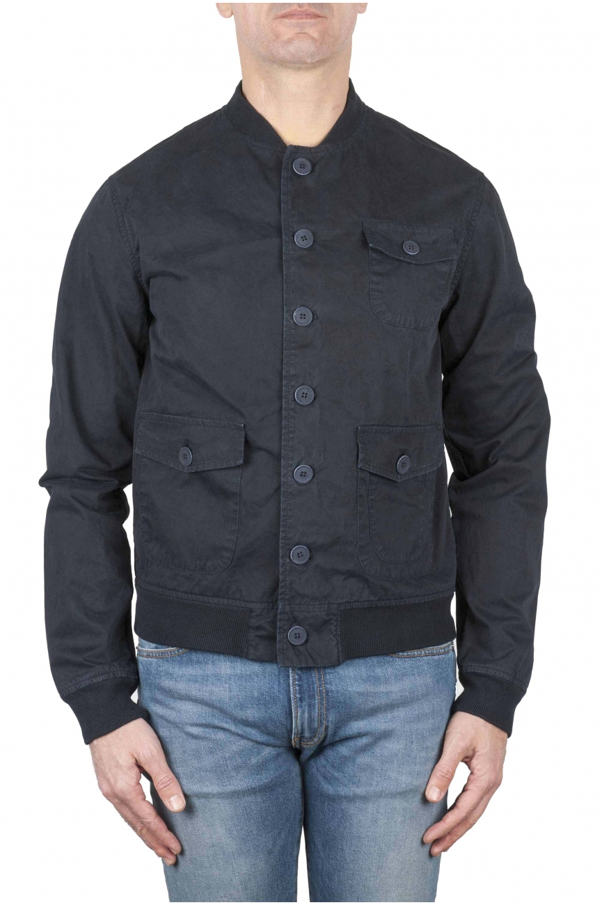 SBU 01100 Stone washed blue cotton bomber jacket 01