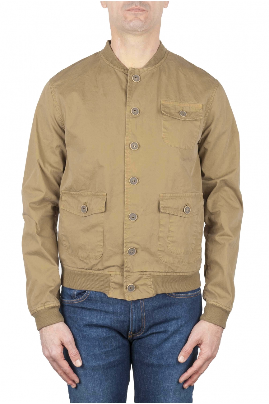 SBU 01101 Stone washed beige cotton bomber jacket 01