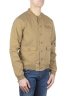 SBU 01101 Stone washed beige cotton bomber jacket 02