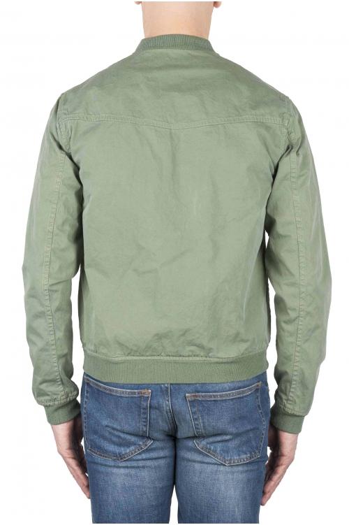 SBU 01102 Giubbino bomber in cotone stone washed verde 01