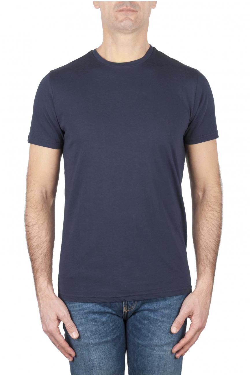 SBU 01163 Shirt classique blue marine col rond manches courtes en coton 01