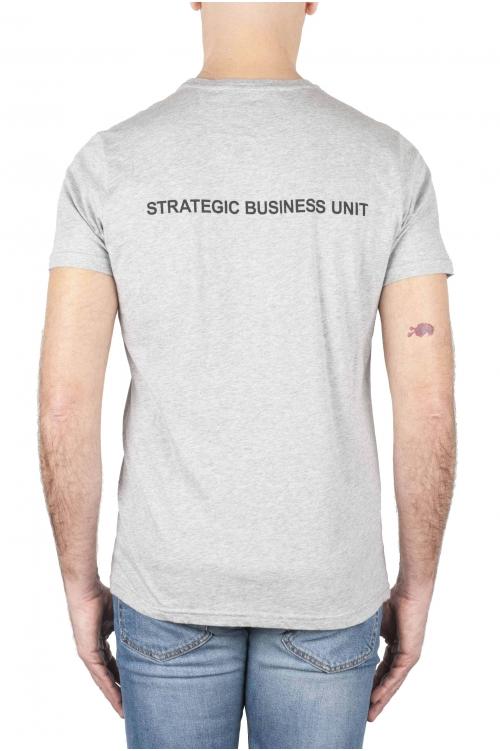 SBU 01164 Shirt classique gris col rond manches courtes en coton 04