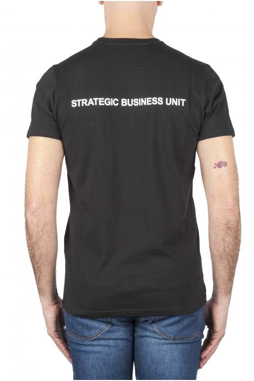 SBU 01165 Shirt classique noir col rond manches courtes en coton 04