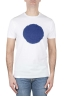 SBU 01167 Clásica camiseta de cuello redondo manga corta de algodón azul y blanca gráfica impresa 01