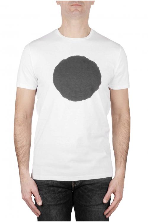 SBU 01168 Clásica camiseta de cuello redondo manga corta de algodón gris y blanca gráfica impresa 01