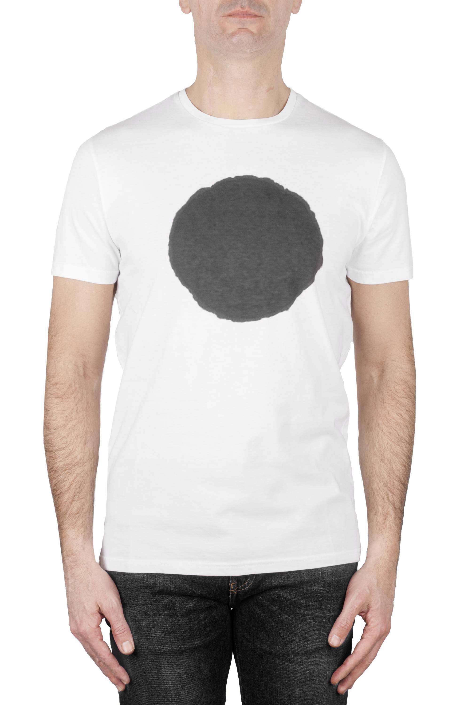 SBU 01168 T-shirt girocollo classica a maniche corte in cotone grafica stampata grigia e bianca 01