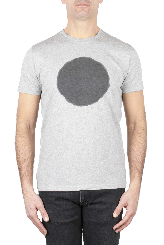 SBU 01169 Shirt classique noir et gris col rond manches courtes en coton graphique imprimé 01
