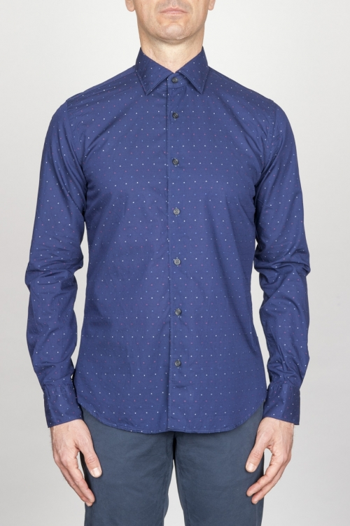 Camicia Classica Collo A Punta In Cotone Goffrato Madras Blue Microfantasia