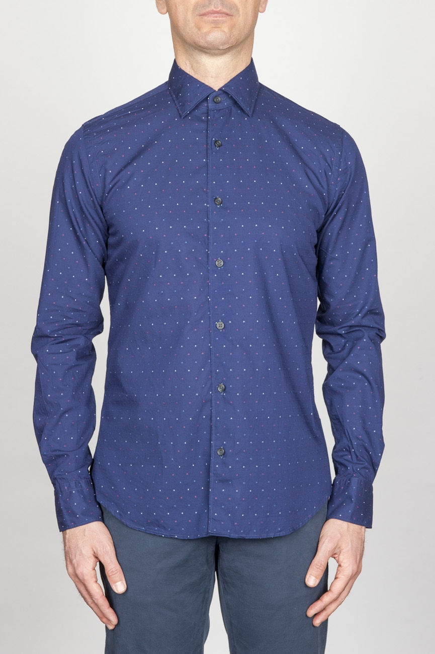 SBU - Strategic Business Unit - Classic Point Collar Blue Micro Pattern Madras Cotton Shirt
