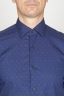 SBU - Strategic Business Unit - Camicia Classica Collo A Punta In Cotone Goffrato Madras Blue Microfantasia